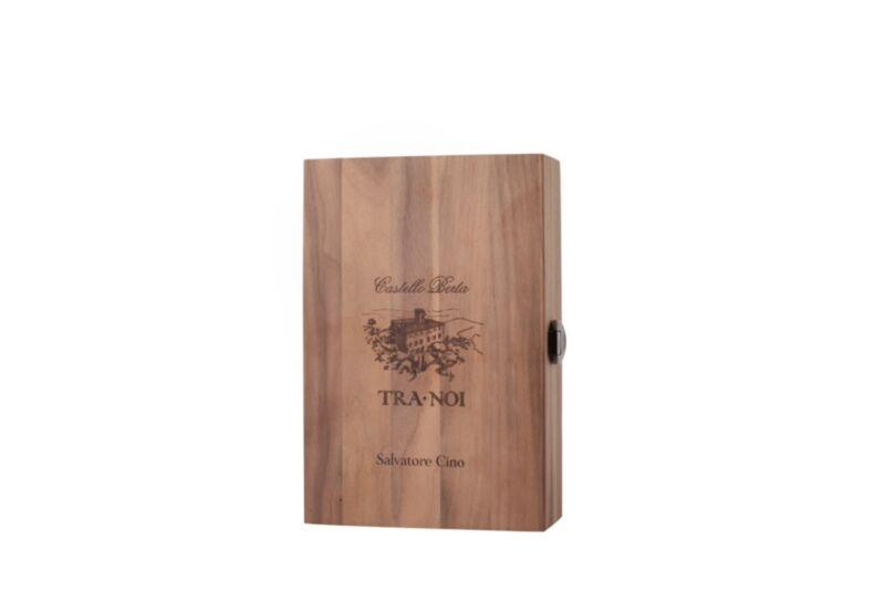Personalized Berta wooden box with Grappa Brunello